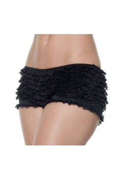 Pantalones cortos negros con volantes talla extra