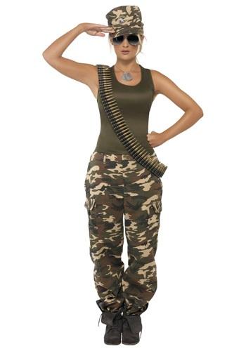 Disfraz de camuflaje caqui para mujer