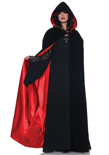 Capa de terciopelo con forro rojo satinado deluxe