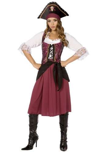 Disfraz de muchacha pirata bermellón