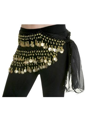 Pañuelo negro para la cadera de bailarina del vientre