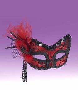 Media máscara de encaje negro rojo