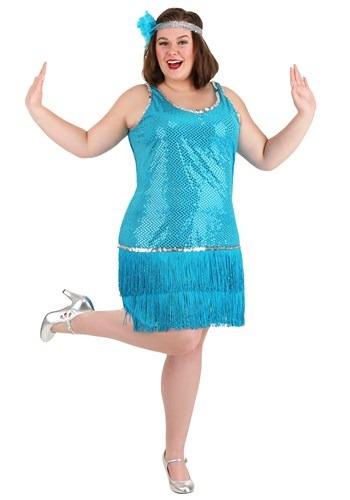 Vestido flapper lentejuelas y flecos turquesa talla extra