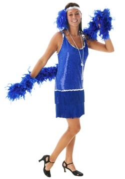 Vestido flapper con lentejuelas y flecos  azul talla extra