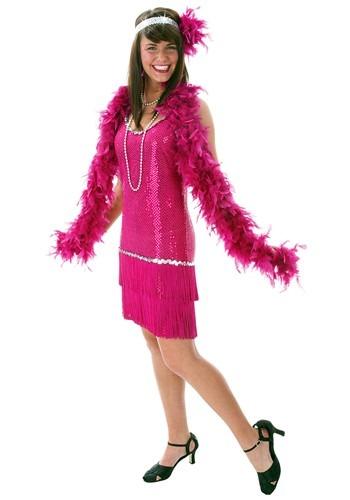 Vestido flapper con lentejuelas y flecos fucsia talla extra