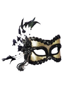 Máscara Mardi Gras de lentejuelas y plumas negras y doradas