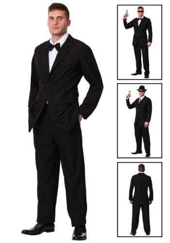Disfraz de traje negro talla extra