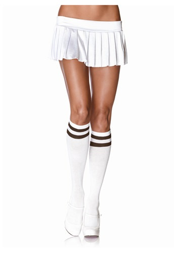 Medias altas atléticas a la rodilla blanco/negro