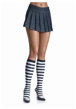 Medias altas a la rodilla a rayas blancas y negras