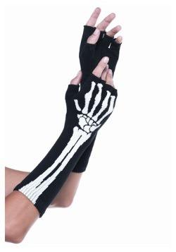 Guantes sin dedos de esqueleto