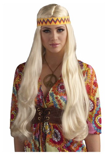 Blonde Hippie Chick Wig w / Headband