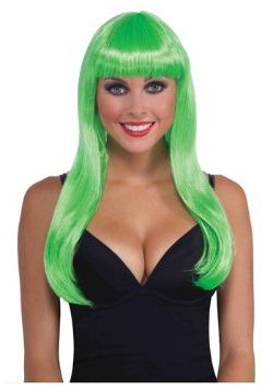 Peluca verde neón larga