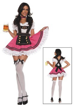 Disfraz de chica de cerveza de lujo para mujer