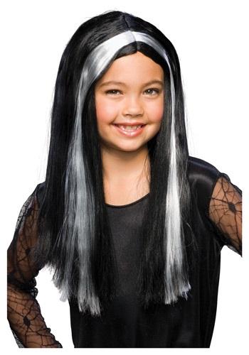 Peluca de bruja negra y gris para niños