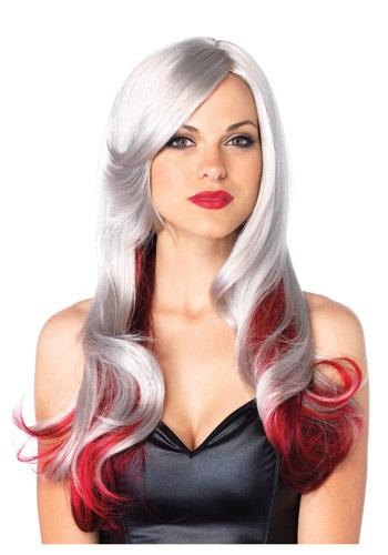 Peluca roja y gris de dos tonos