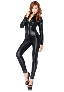Disfraz de traje de gato negro sexy con cremallera