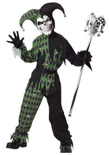 Disfraz infantil de bufón verde aterrador
