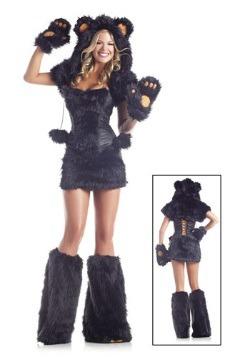 Disfraz de oso negro deluxe de 8 piezas