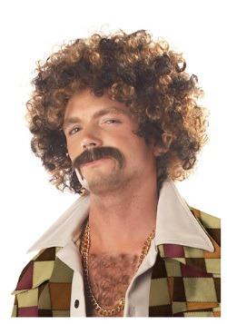 Peluca y bigote de vago disco