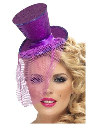 Sombrero de copa Mini Feather Purple Glitter