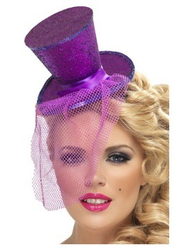 Sombrero de copa Mini Feather Purple Glitter