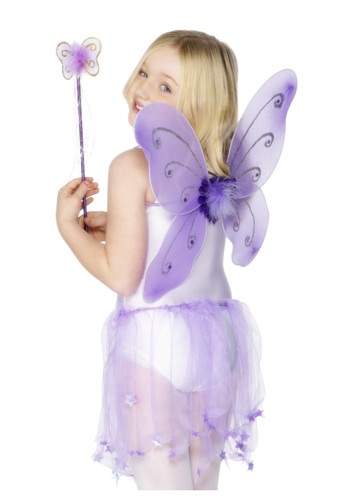 Kit de alas de mariposa moradas para niños
