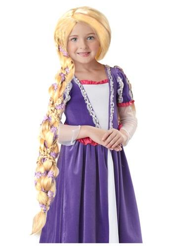 Peluca de Rapunzel con flores
