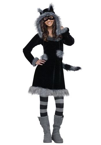Disfraz de mapache dulce adolescente
