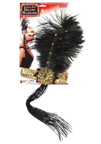 Cinta para la cabeza en oro y negro estilo flapper