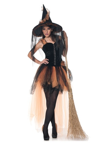Disfraz de bruja naranja y negro para mujer de Hollow's Eve