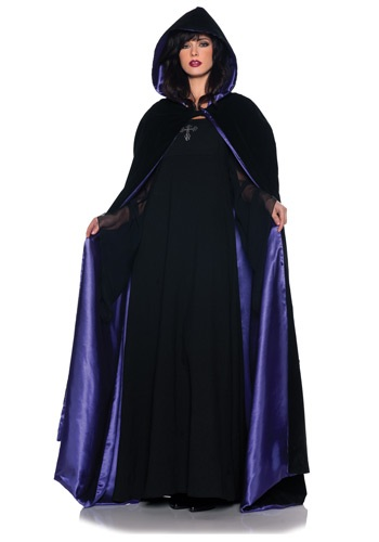 Deluxe Velvet y Purple Satin Long Cape