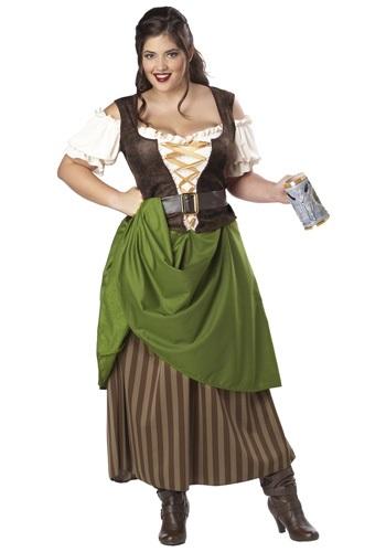 Disfraz de doncella de la taberna talla extra