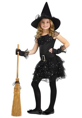 Disfraz de bruja con brillantina para niñas