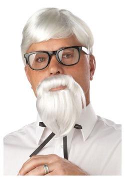 Peluca y bigote de coronel blanco