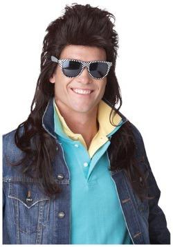 Peluca estilo mullet rock de los 80 en castaño