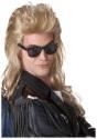 Peluca estilo mullet rock de los 80 en rubio