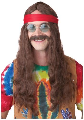 Peluca y bigote de hombre hippie