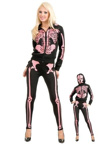 Sudadera rosa con capucha Skeleton para mujer