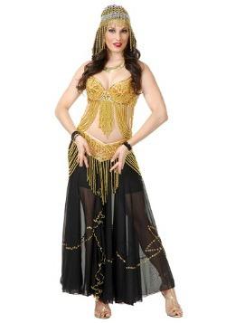 Disfraz de bailarina de vientre color dorado