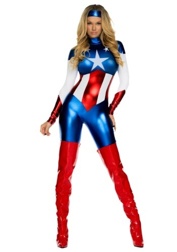 Disfraz de superhéroe de belleza estadounidense para mujer