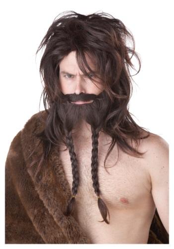 Peluca de vikingo café con barba y bigote