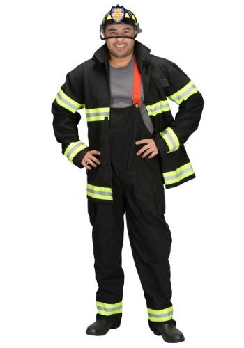 Disfraz negro de bombero para adulto con casco