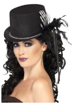 Sombrero de copa negro con mano de esqueleto