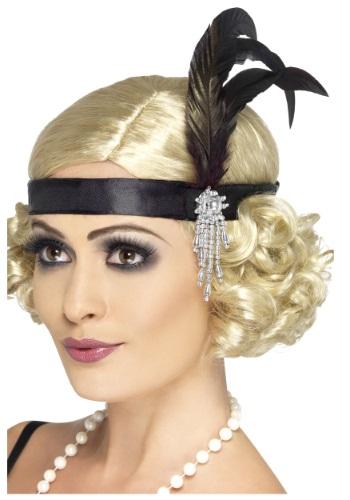 Cinta para el pelo enjoyada negra estilo Flapper