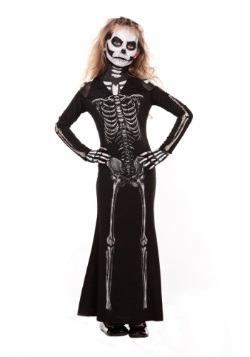 Vestido infantil largo de dulce esqueleto