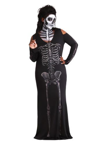 Vestido largo para mujer Plus Size Bone Appetit Skeleton
