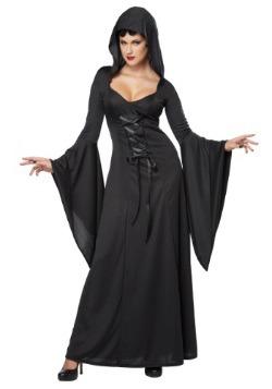 Traje de encaje negro con capucha