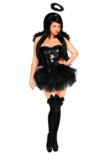 Disfraz de Corsé de Ángel Oscuro para Mujer