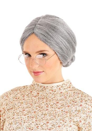 Peluca de mujer vieja gris