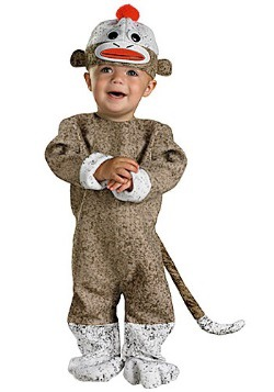 Disfraz de mono de calcetín para bebé